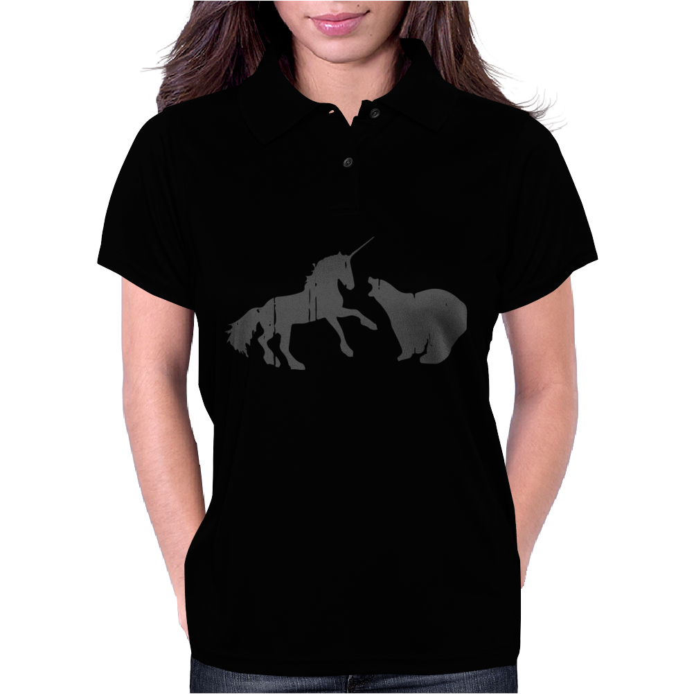 Unicorn and Grizzly Bear Fight Womens Polo