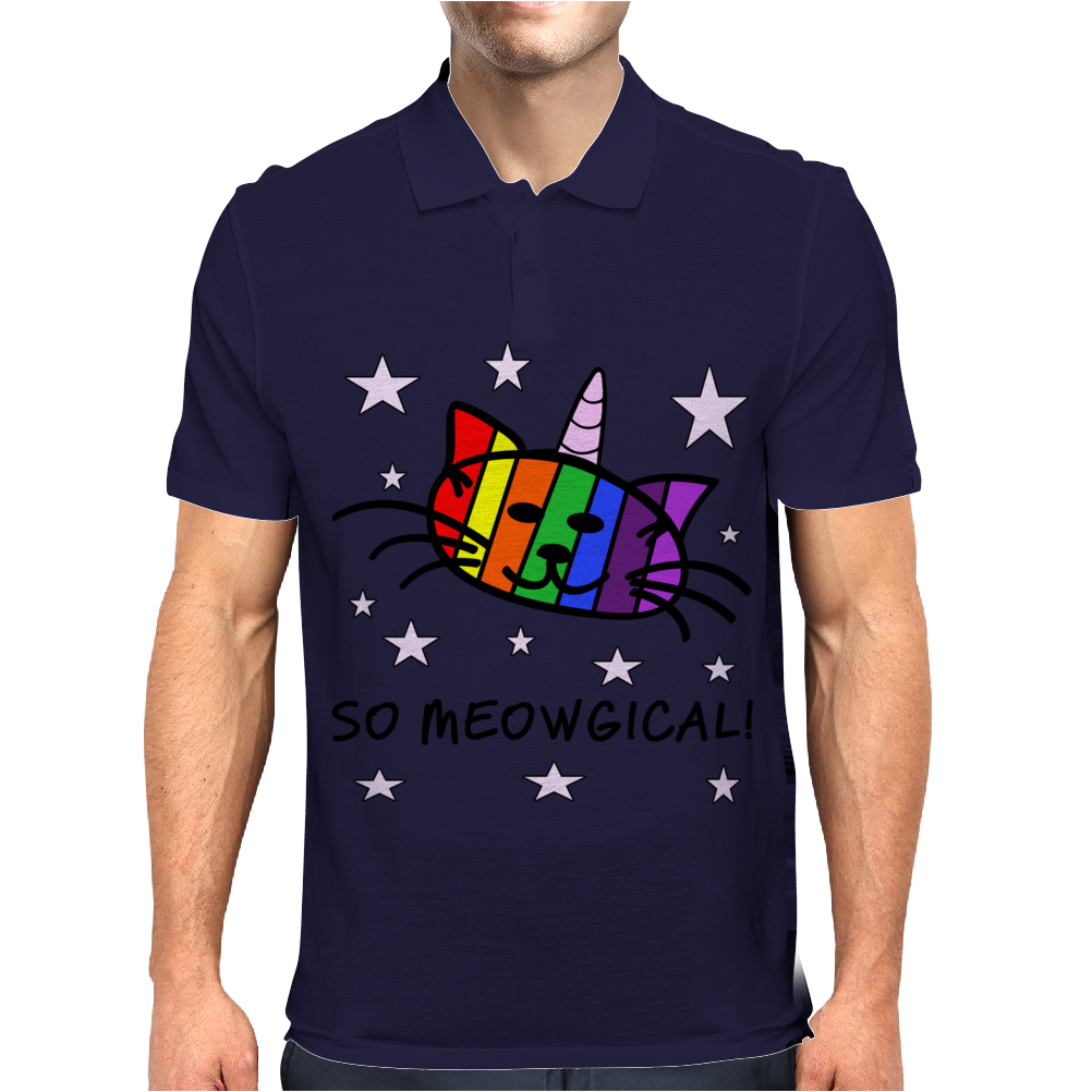 Unicorn Kitty Cat - So Meowgical Mens Polo