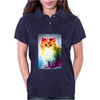 Unicorn Rainbow Cat Kitten Funny Womens Polo