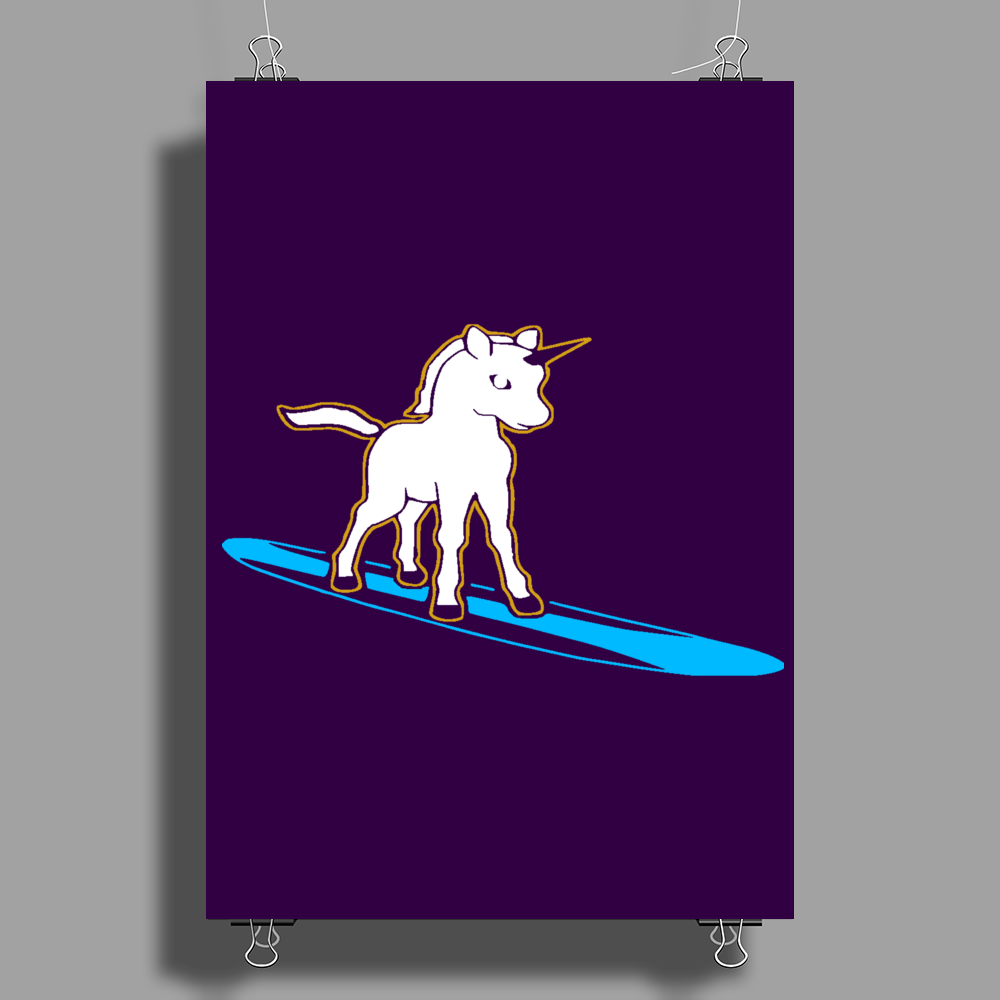Unicorn surfing Poster Print (Portrait)