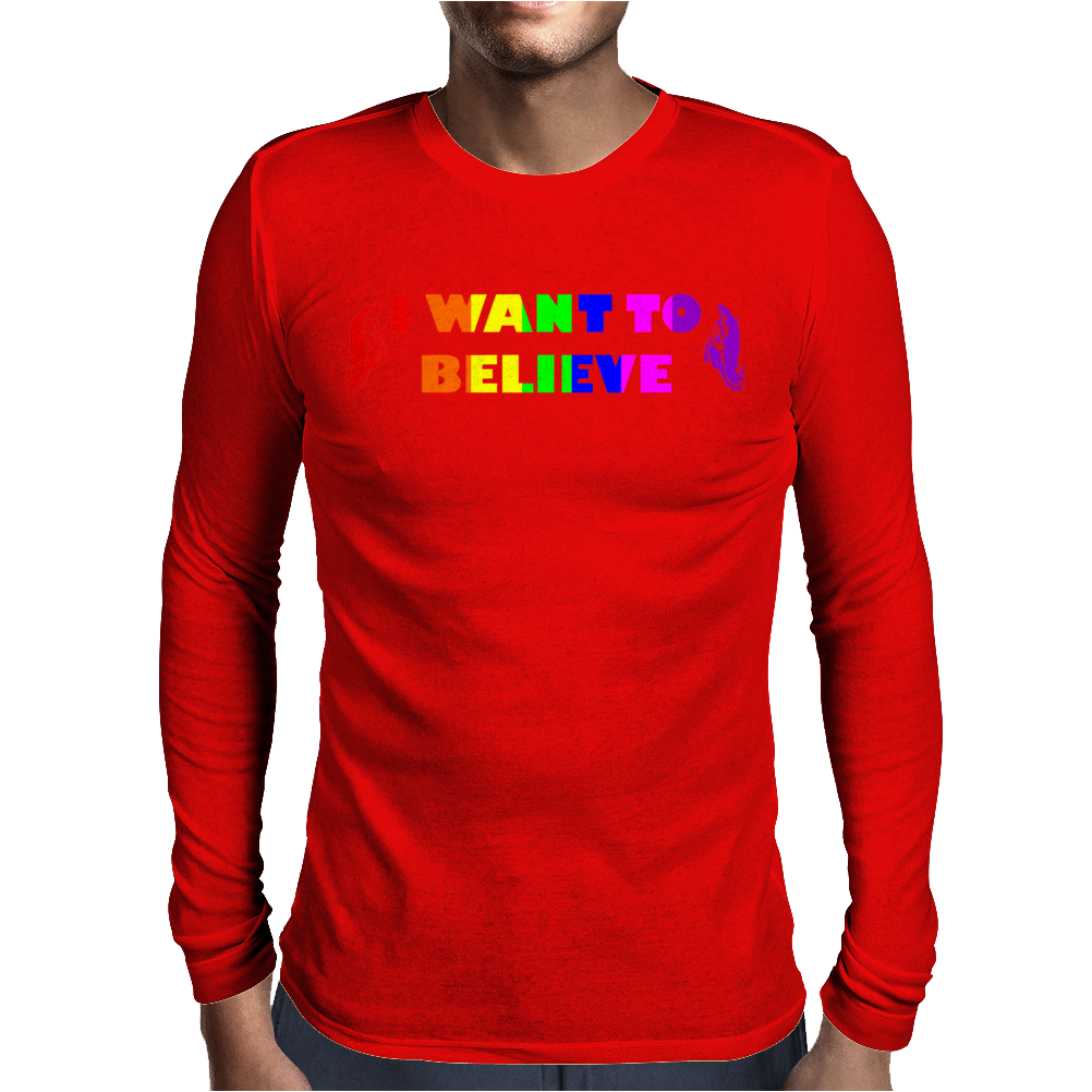 UNICORNS,I WANT TO BELIEVE,FANTASY,MYTHICAL,UNICORNS Mens Long Sleeve T-Shirt