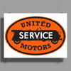 United Motors Service vintage sign distressed Poster Print (Landscape)