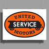 United Motors Service vintage sign flat version Poster Print (Landscape)