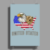 united states america stars and stripes eagle grizzly bear vintage look retro style grunge Poster Print (Portrait)