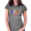 united states america stars and stripes eagle grizzly bear vintage look retro style grunge Womens Fitted T-Shirt
