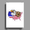 united states of america stars and stripes eagle grizzly bear Poster Print (Portrait)