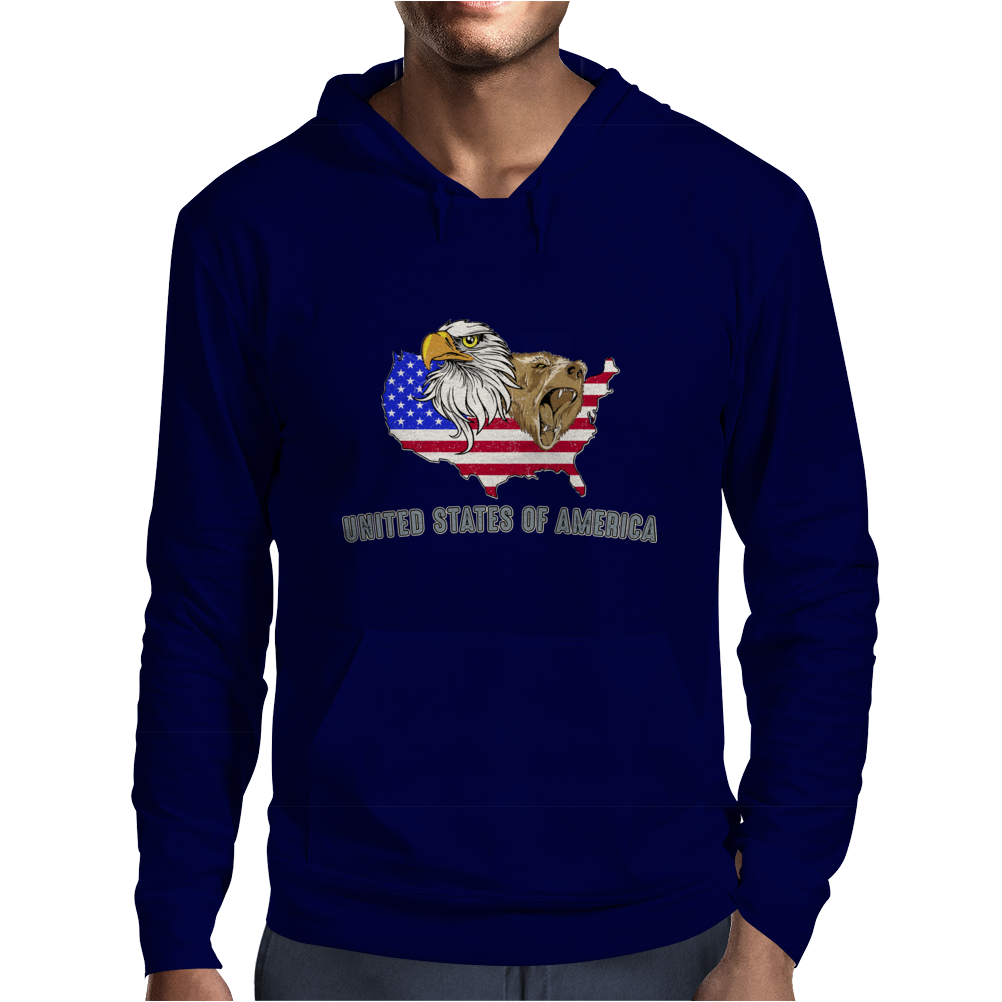 united states of america stars and stripes eagle grizzly bear vintage look retro style grunge Mens Hoodie