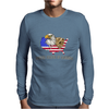 united states of america stars and stripes eagle grizzly bear vintage look retro style grunge Mens Long Sleeve T-Shirt