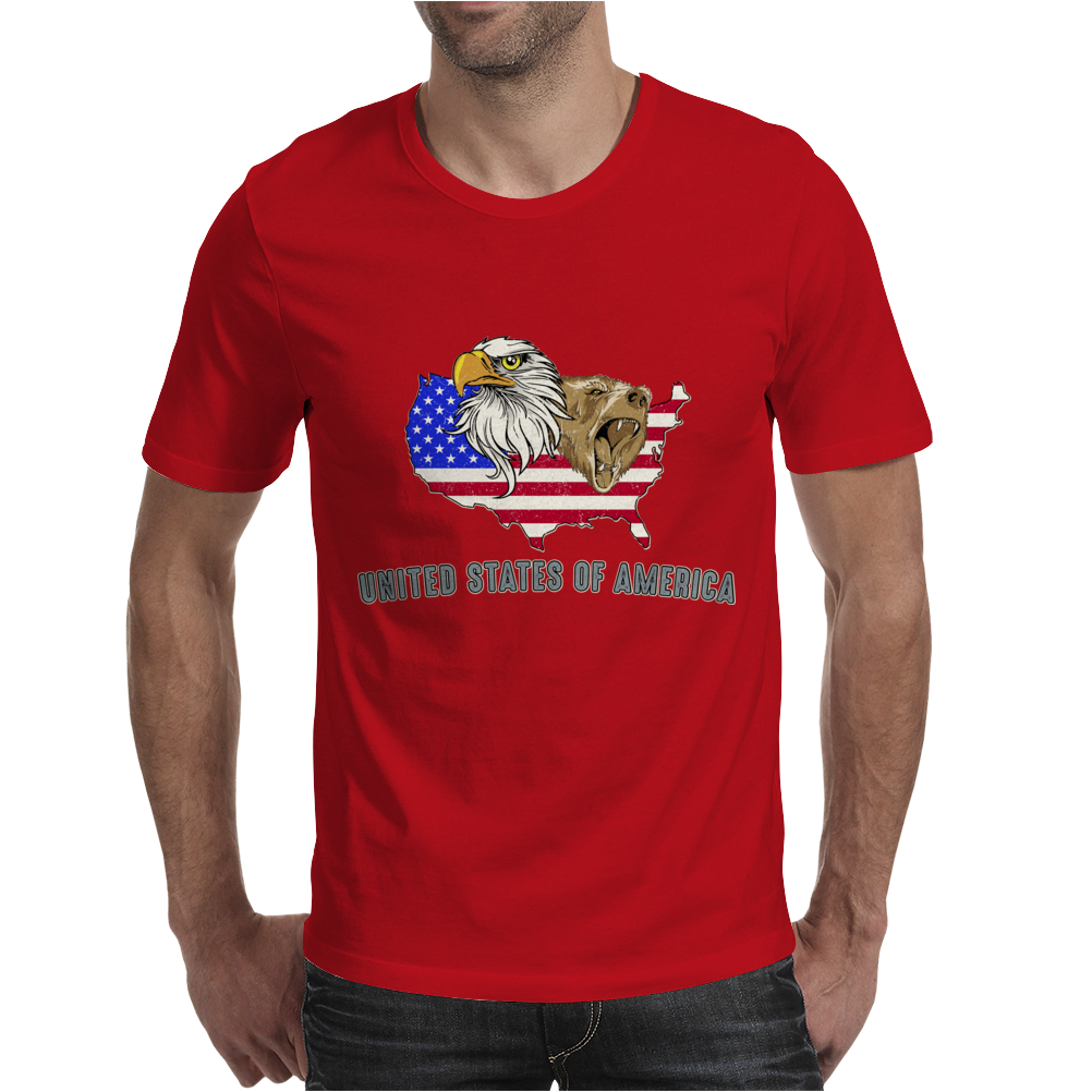 united states of america stars and stripes eagle grizzly bear vintage look retro style grunge Mens T-Shirt
