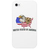 united states of america stars and stripes eagle grizzly bear vintage look retro style grunge Phone Case