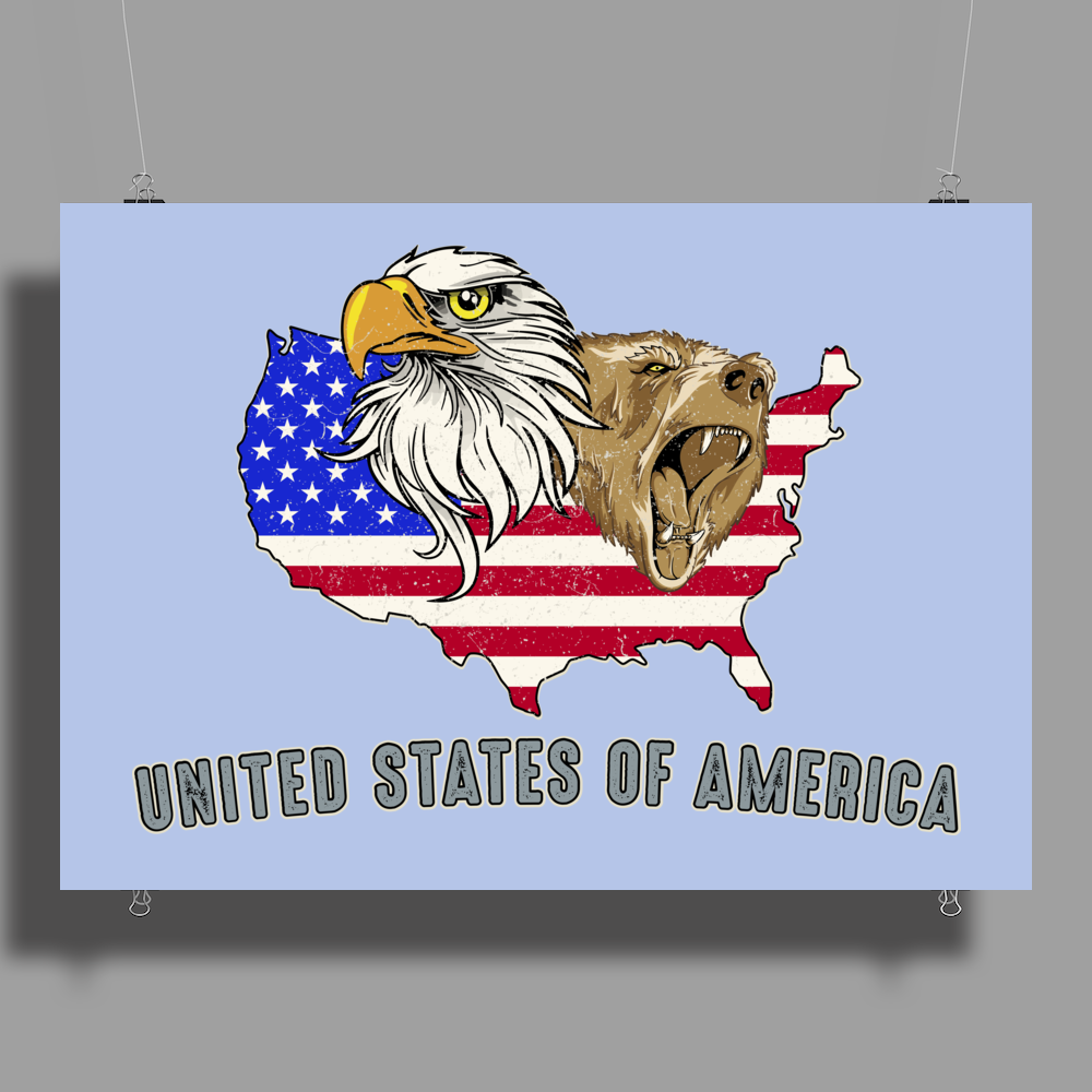 united states of america stars and stripes eagle grizzly bear vintage look retro style grunge Poster Print (Landscape)