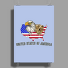 united states of america stars and stripes eagle grizzly bear vintage look retro style grunge Poster Print (Portrait)