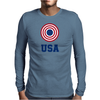 USA 4th July American Flag Circle Mens Long Sleeve T-Shirt
