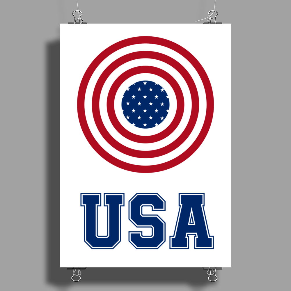 USA 4th July American Flag Circle Poster Print (Portrait)