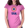 USA 4th July American Flag Circle Womens Fitted T-Shirt