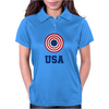 USA 4th July American Flag Circle Womens Polo