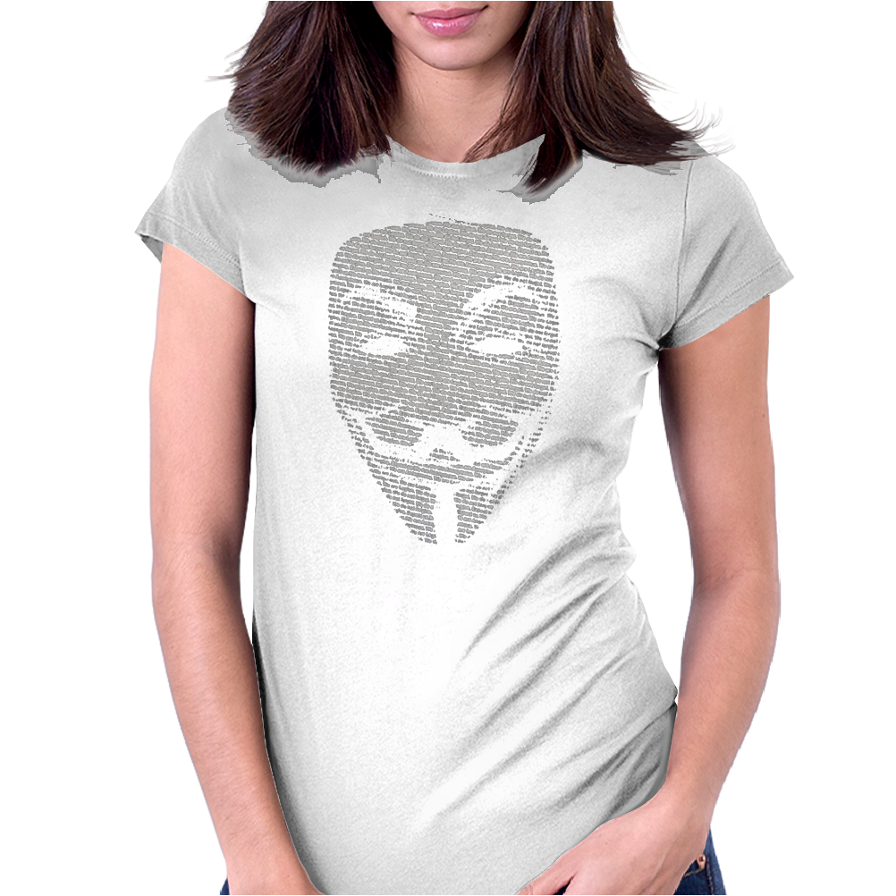 V FOR VENDETTA MASK GUY FAWKES COOL GIRLS WOMENS COTTON T-SHIRT DW01 Womens Fitted T-Shirt