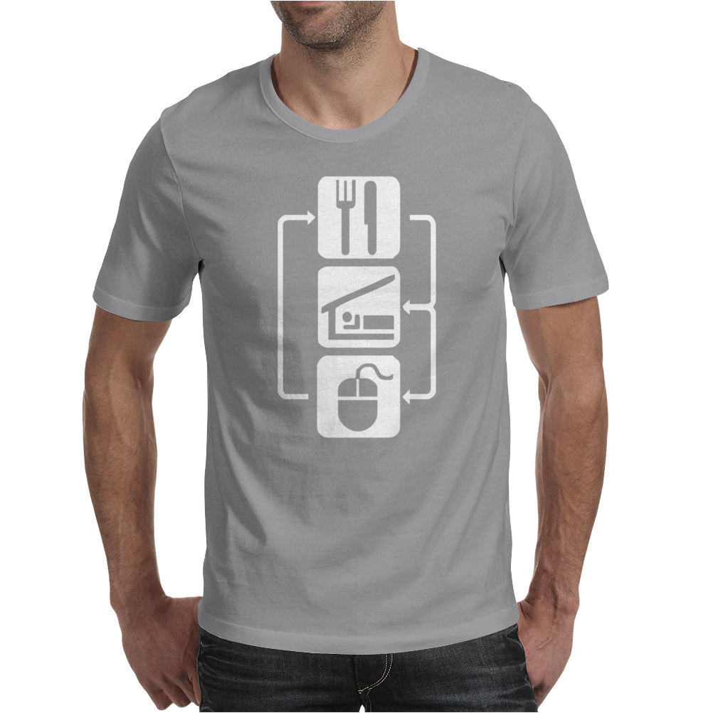 V2 Eat Sleep Computer Mouse Mens T-Shirt