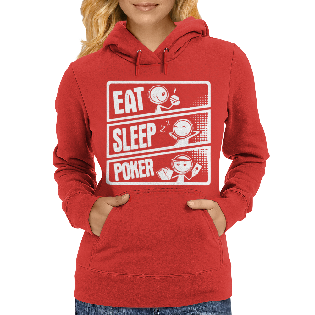 V3 Eat Sleep Poker Womens Hoodie