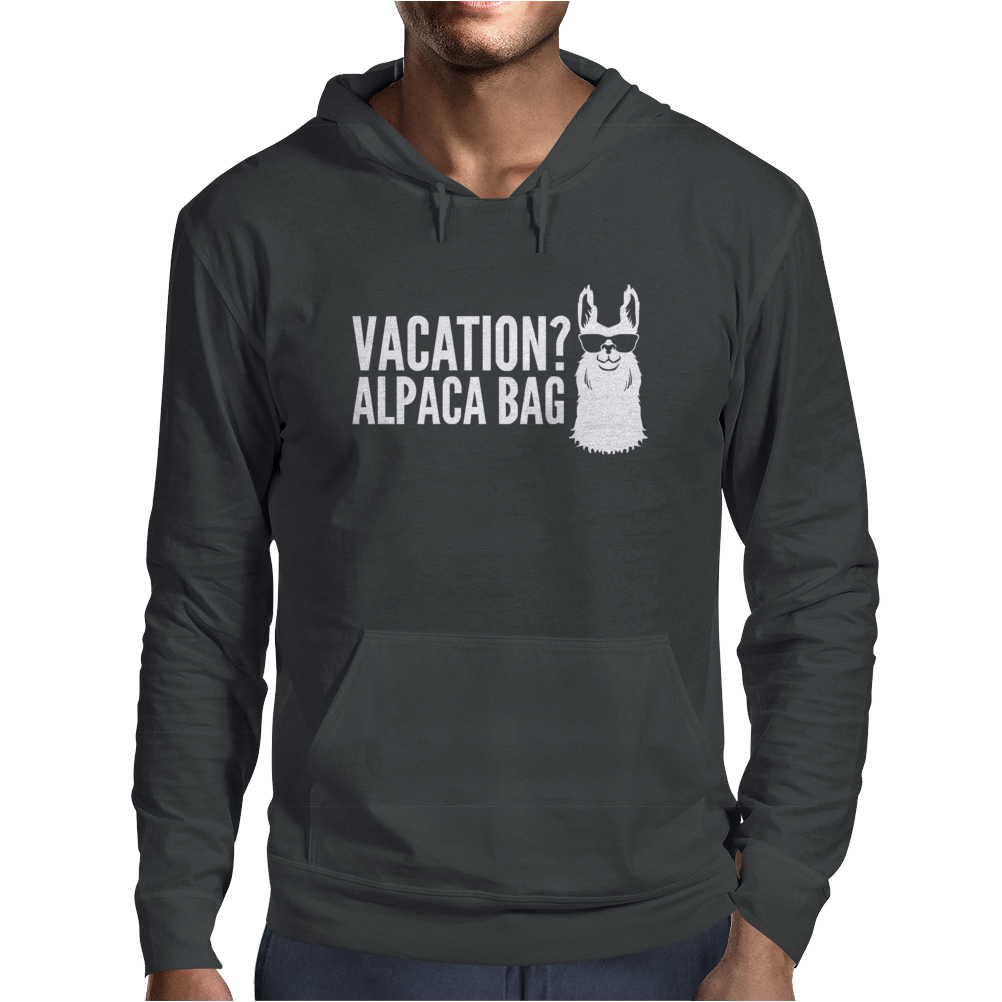 Vacation Alpaca Bag Animal Humor Funny Mens Hoodie