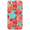 Vector seamless floral pattern with colorful roses on a turquoise background Phone Case
