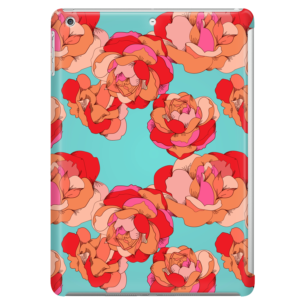 Vector seamless floral pattern with colorful roses on a turquoise background Tablet