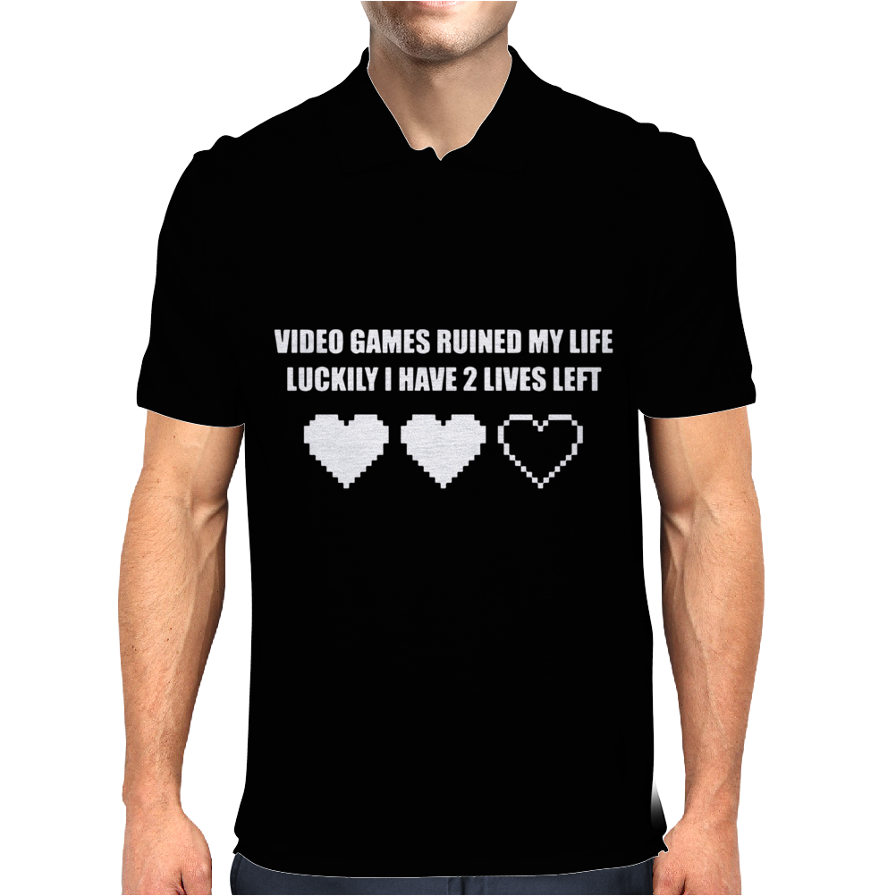 VIDEO GAMES RUINED MY LIFE FUNNY Mens Polo