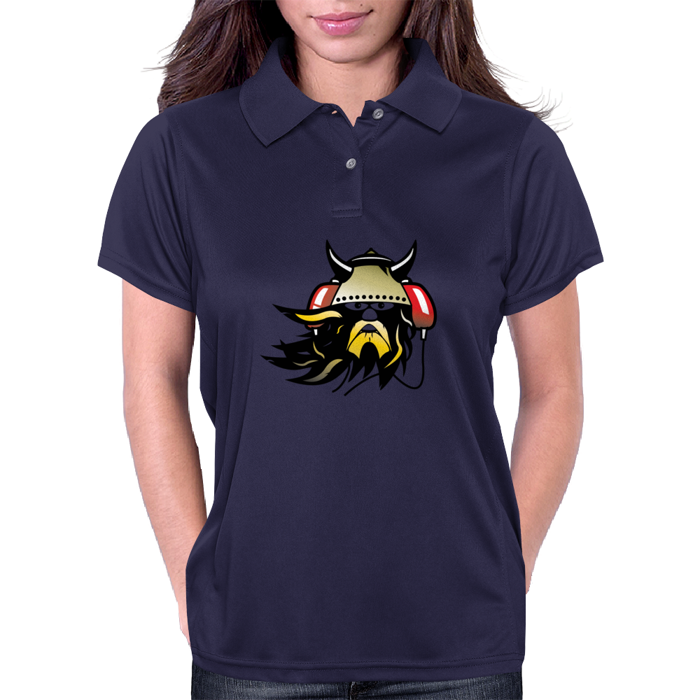 Viking with headphones Womens Polo