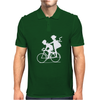 Vintage Graphic Children Biking Funny Humor Geek Mens Polo