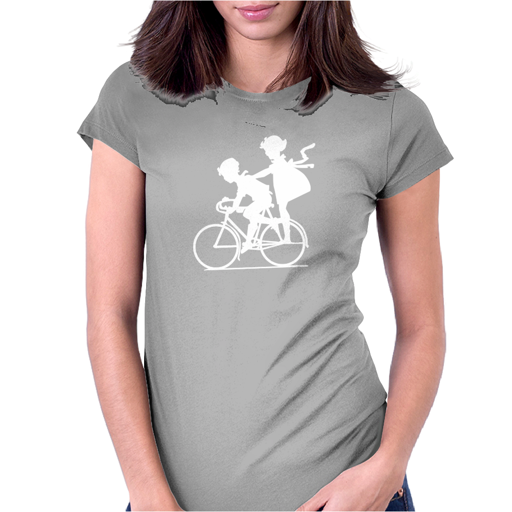 Vintage Graphic Children Biking Funny Humor Geek Womens Fitted T-Shirt