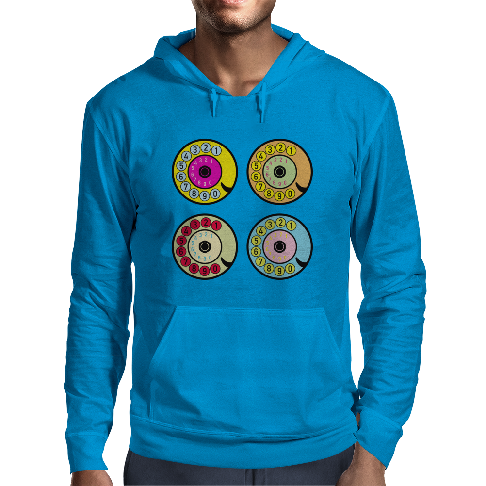 vintage phone retro dial pop art (2) Mens Hoodie