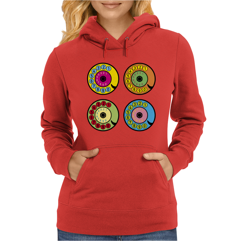 vintage phone retro dial pop art Womens Hoodie
