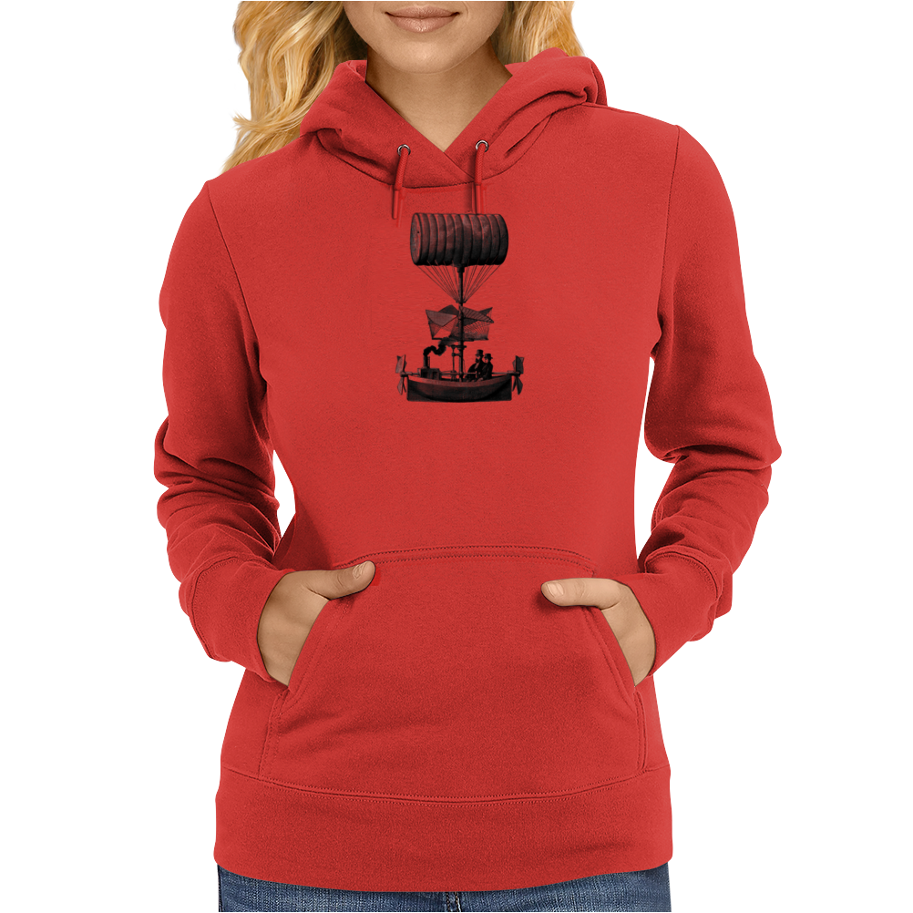 Vintage Steampunk Flying Machine Womens Hoodie