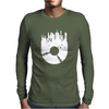 Vinyl Record with Grunge Cityscape Mens Long Sleeve T-Shirt