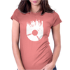 Vinyl Record with Grunge Cityscape Womens Fitted T-Shirt