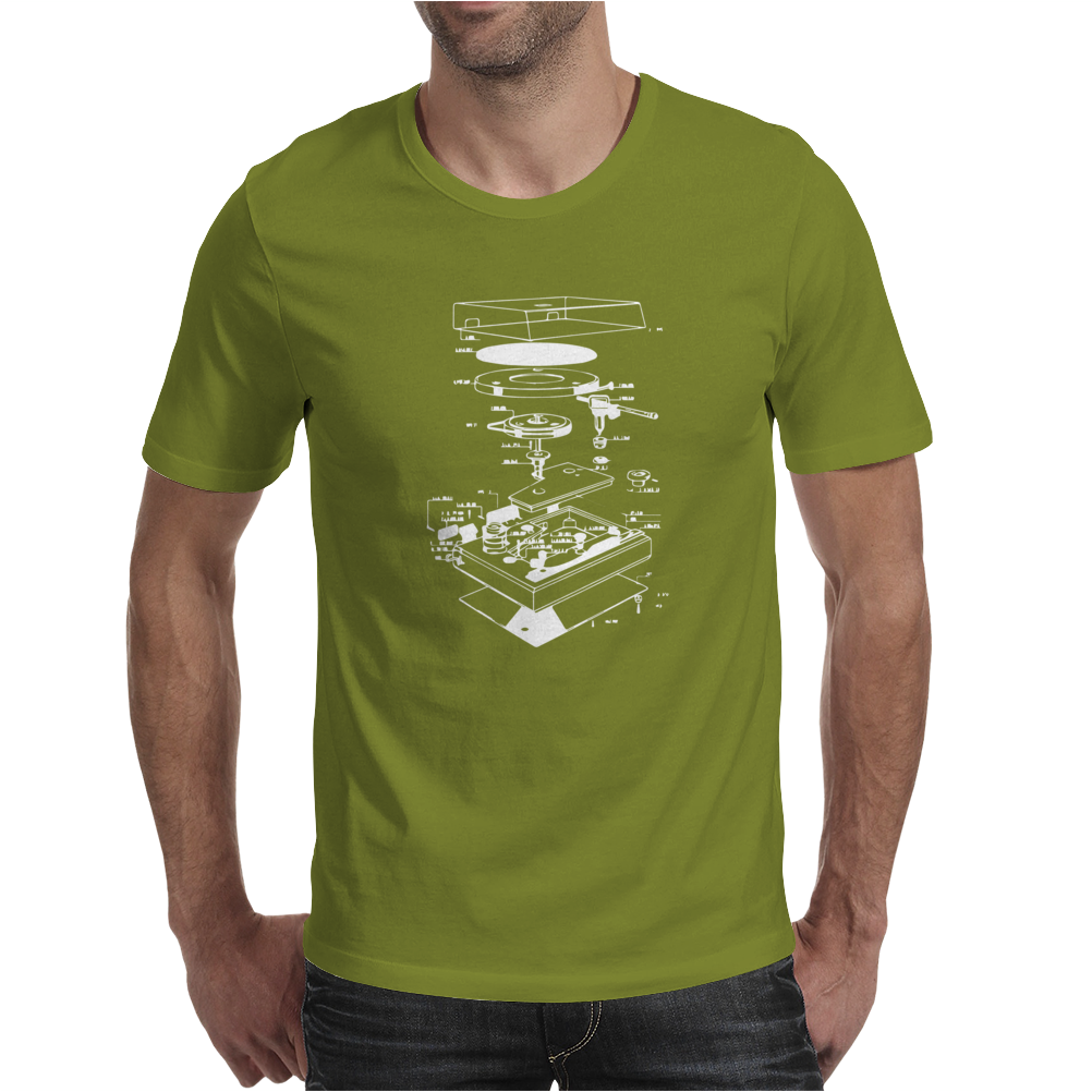 Vinyl Turntable Diagram Mens T-Shirt
