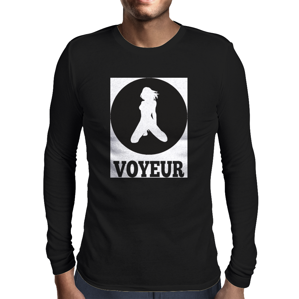 Voyeur (White) Mens Long Sleeve T-Shirt