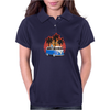 VW Bus Blue Palmes Sunset 70ies Colors Womens Polo