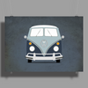 VW Type 2 In Blue Poster Print (Landscape)
