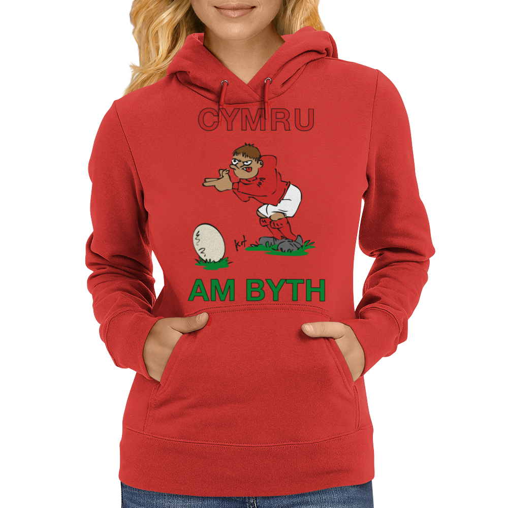 Wales Rugby Kicker World Cup Womens Hoodie