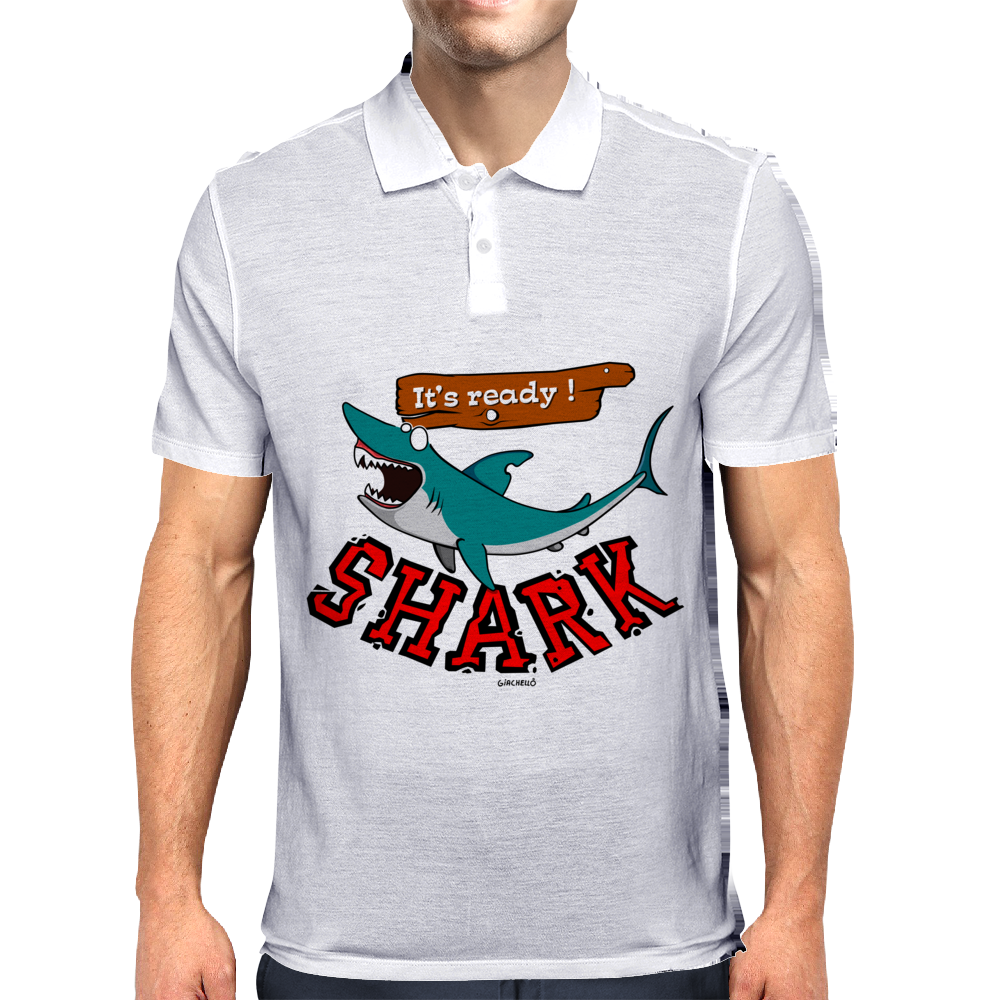 Watch out for shark Mens Polo