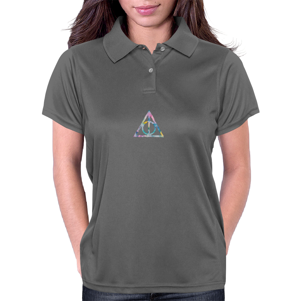 Watercolor Deathly Hallows 2 Womens Polo