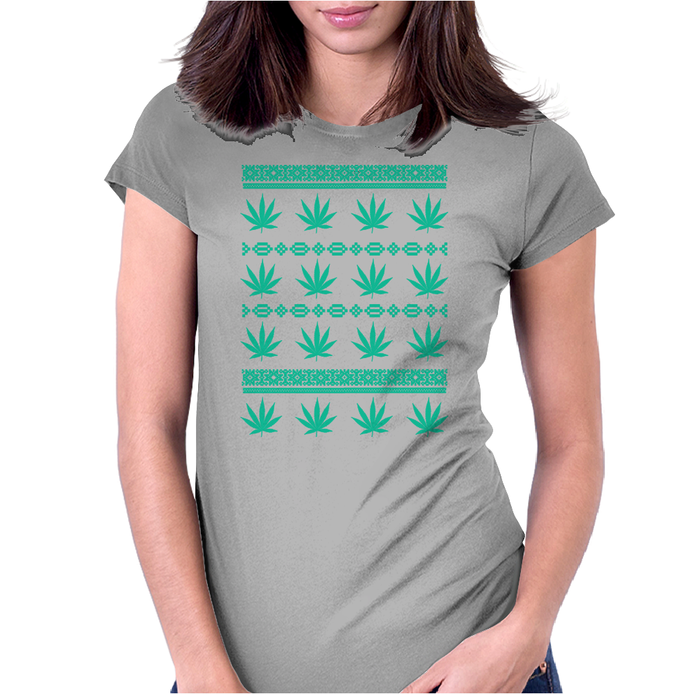 Weed Ugly Sweater Womens Fitted T-Shirt