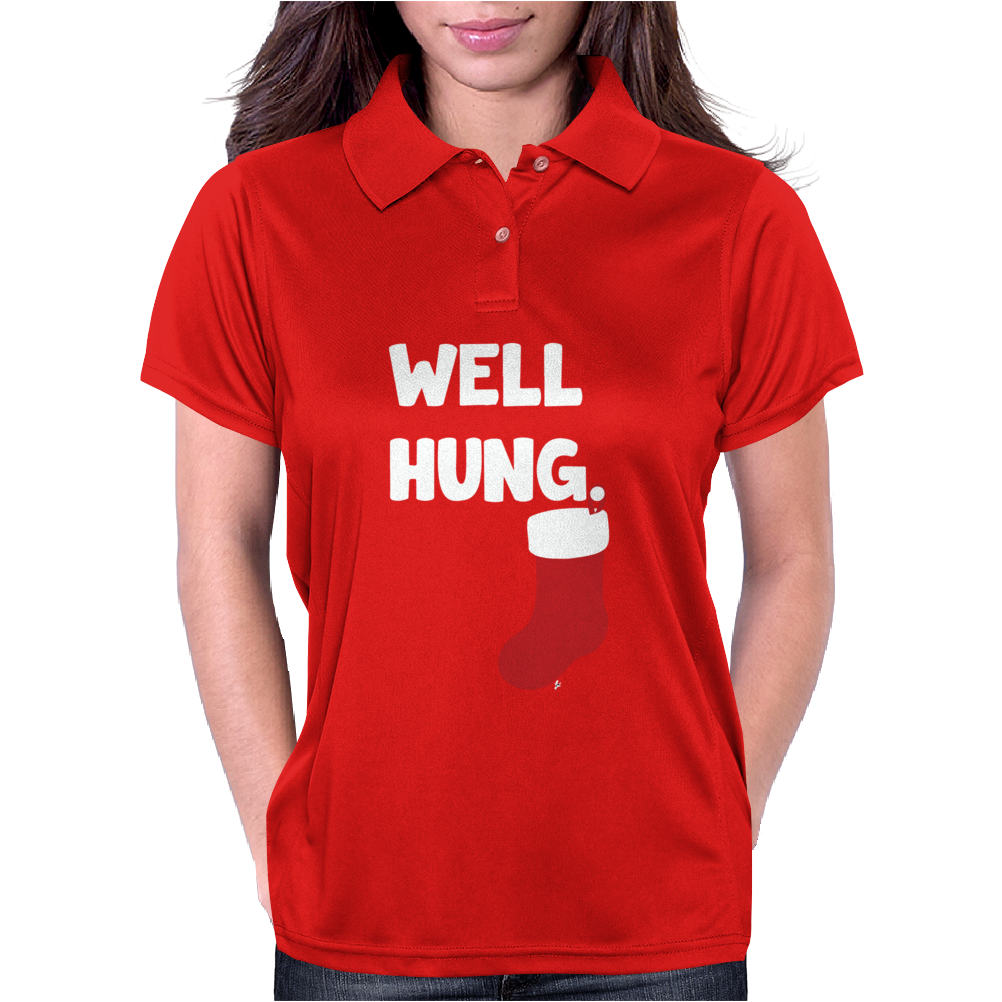 Well Hung Endowed Christmas Stocking Funny Womens Polo