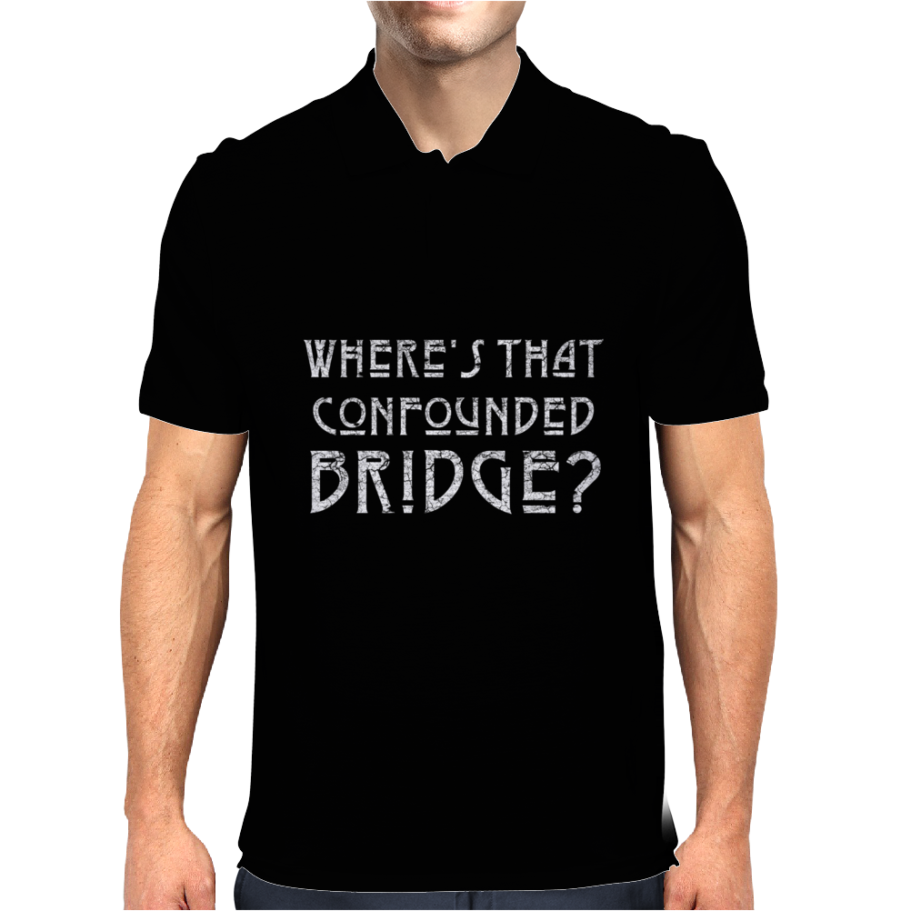 WHERE'S THAT CONFOUNDED BRIDGE? DISTRESSED WHITE Mens Polo