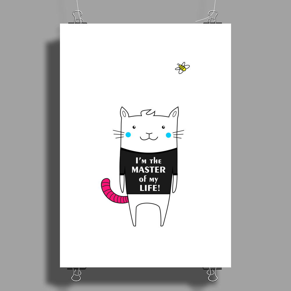 White Cat with Pink Tail Poster Print (Portrait)