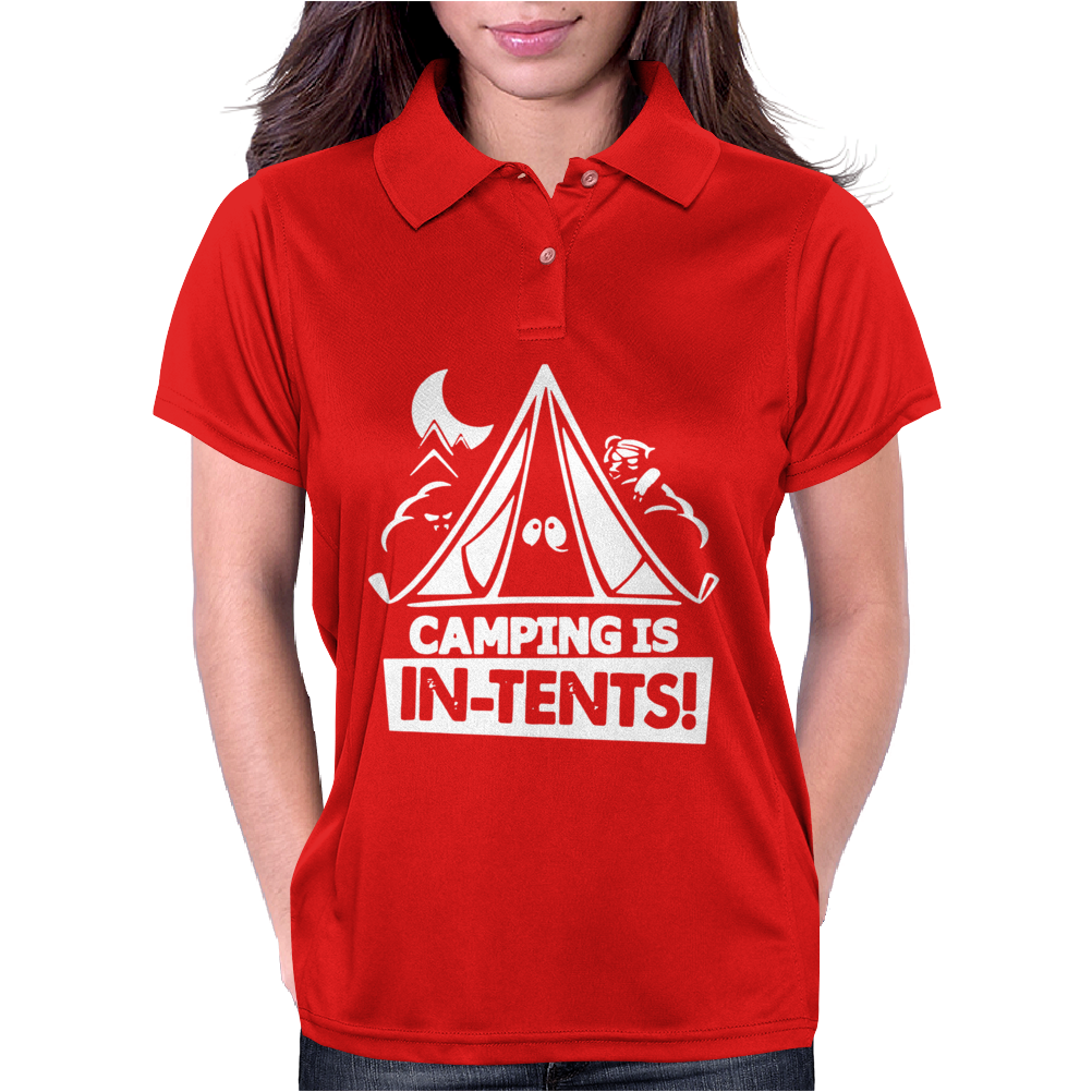 White Ink Camping Is In Tents Funny Womens Polo