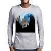 Wolves Twilight Blue Moon Mens Long Sleeve T-Shirt