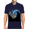 Wolves Twilight Blue Moon Mens Polo