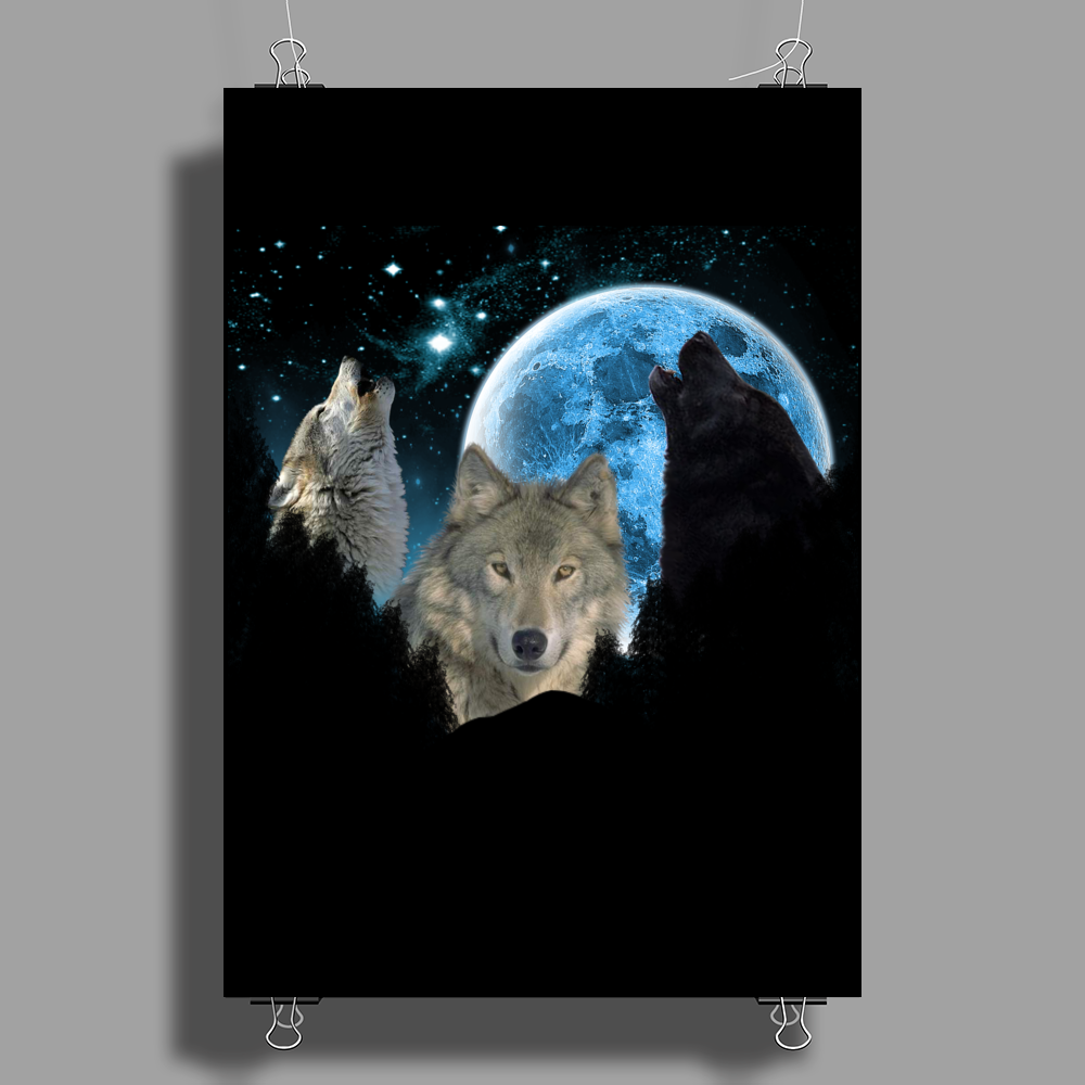 Wolves Twilight Blue Moon Poster Print (Portrait)